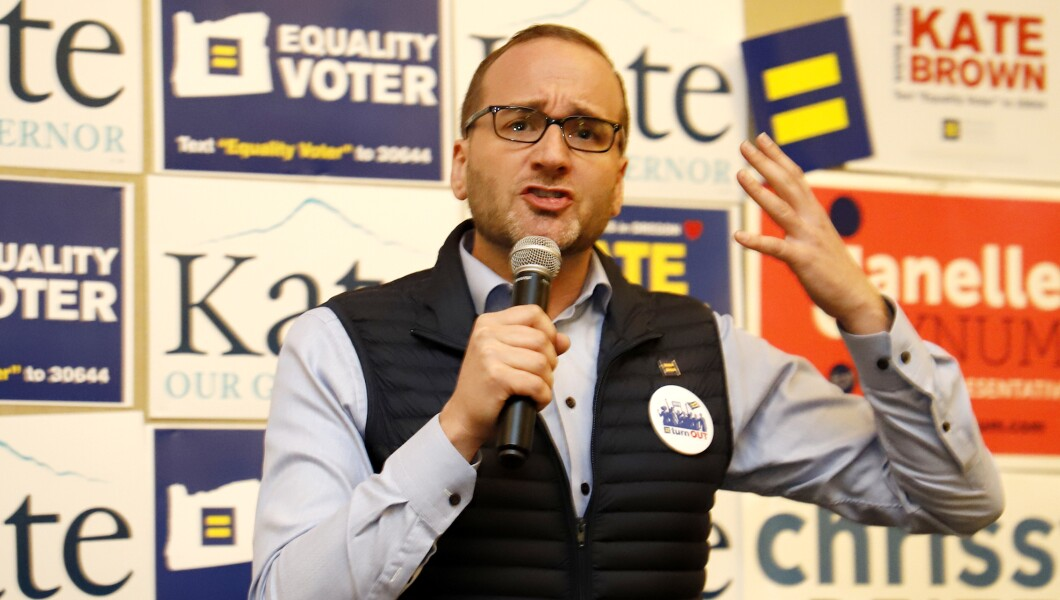 HRC president Chad Griffin appears at a phone bank event for HRC-endorsed candidate Kate Brown for Oregon governor in Portland, Ore.