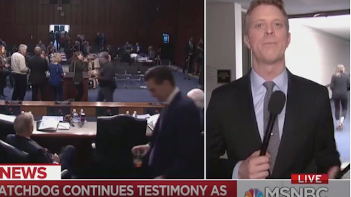 WATCH: Person yells 'Epstein didn't kill himself' during live MSNBC impeachment coverage