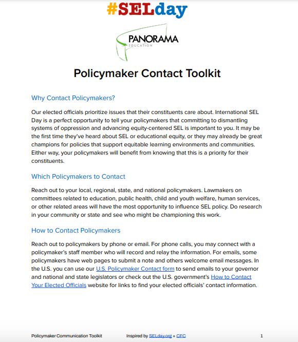 Panorama - SEL Day - Policymaker Contact Toolkit - Page One