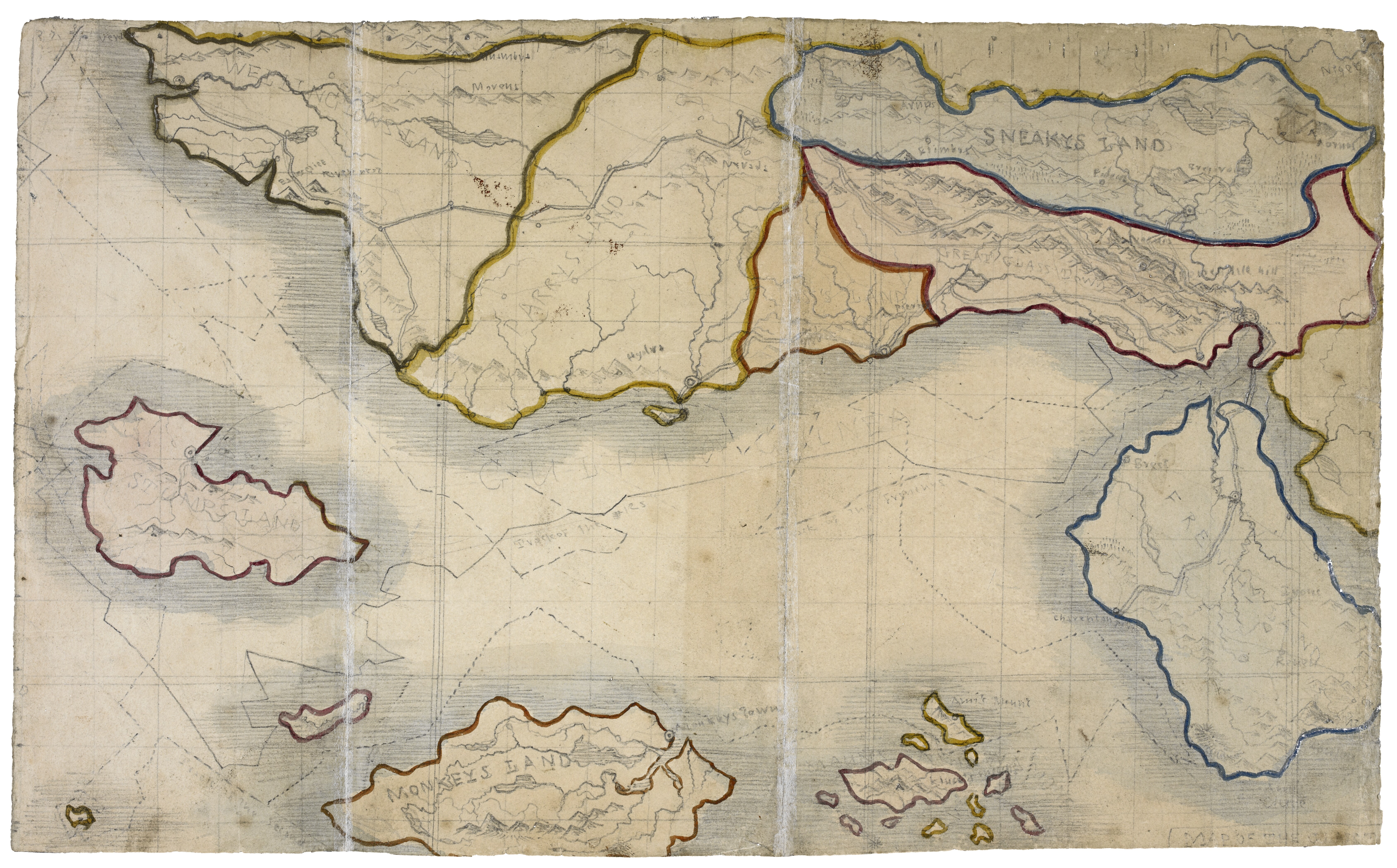 A map of imaginary lands dreamed up by Charlotte Brontë