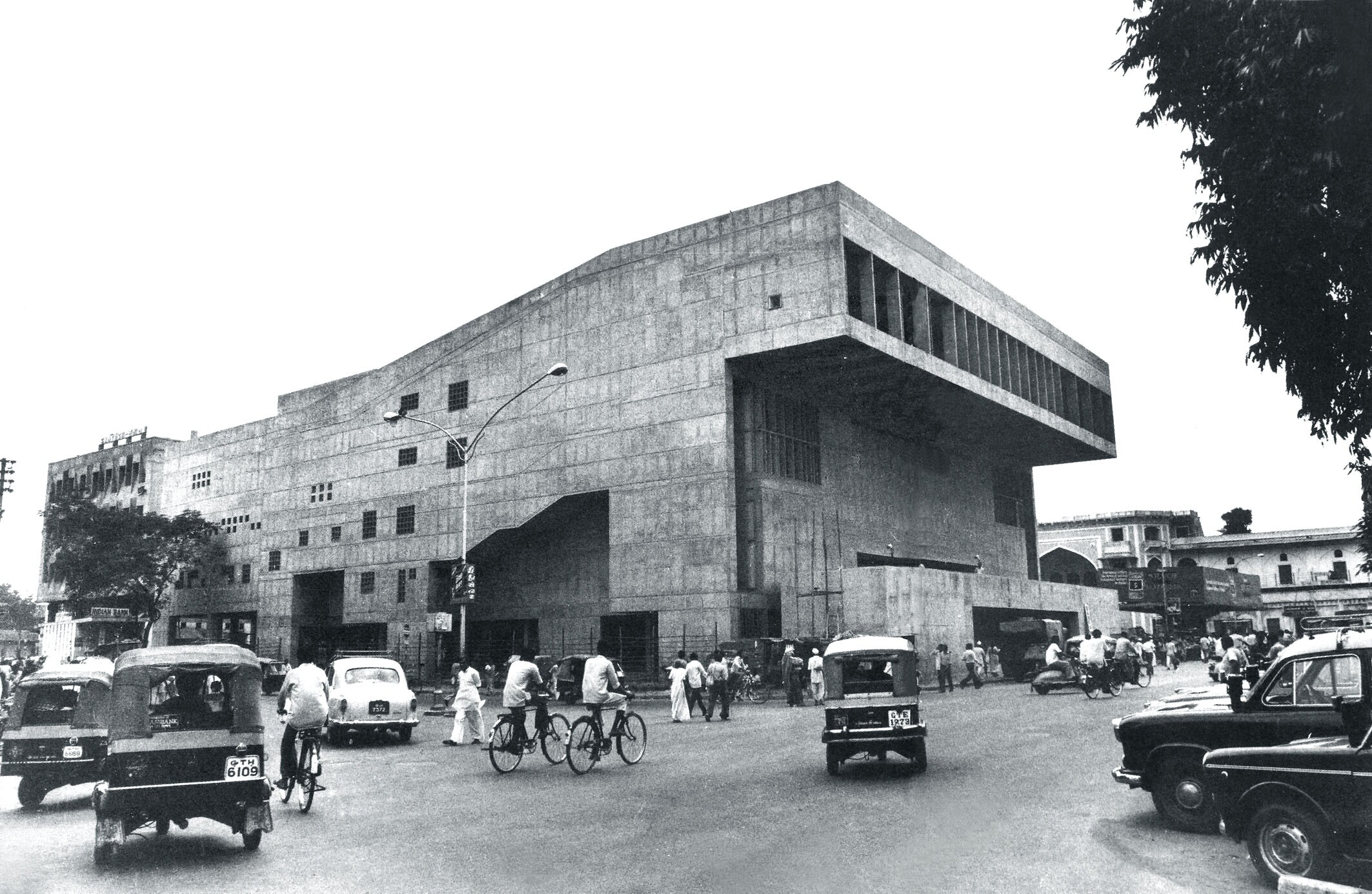 Premabhai Hall (1976), one of Doshi's two Brutalist theaters in Ahmedabad, has been closed since 1997.
