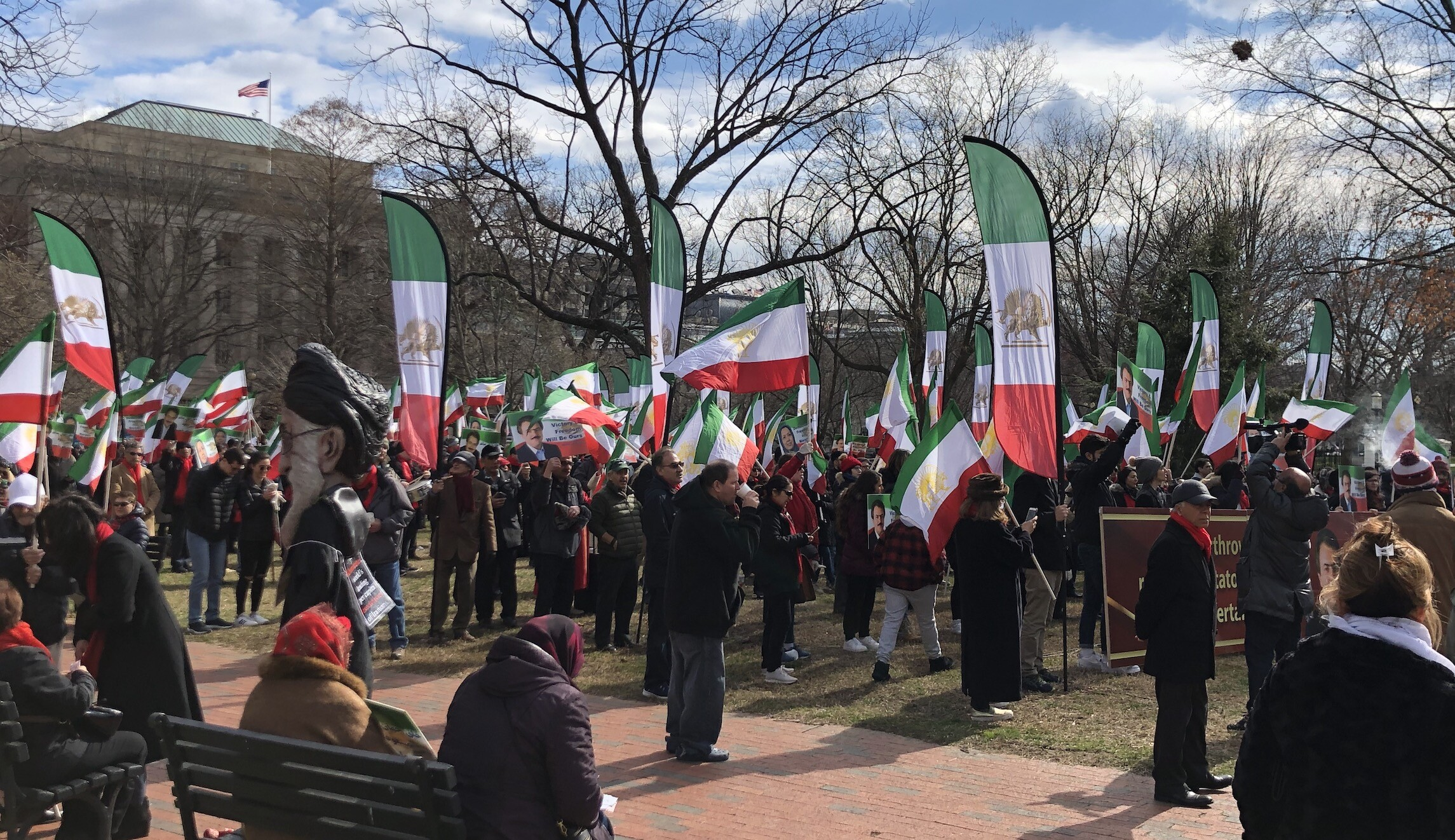 People in Washington, D.C., attend a demonstration against the Iranian government.
