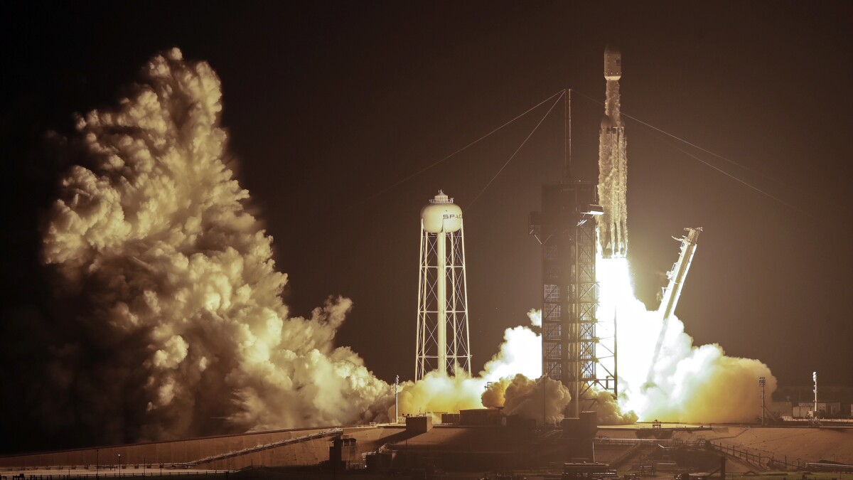 Falcon Heavy lifts off in SpaceX 'most difficult launch ever'