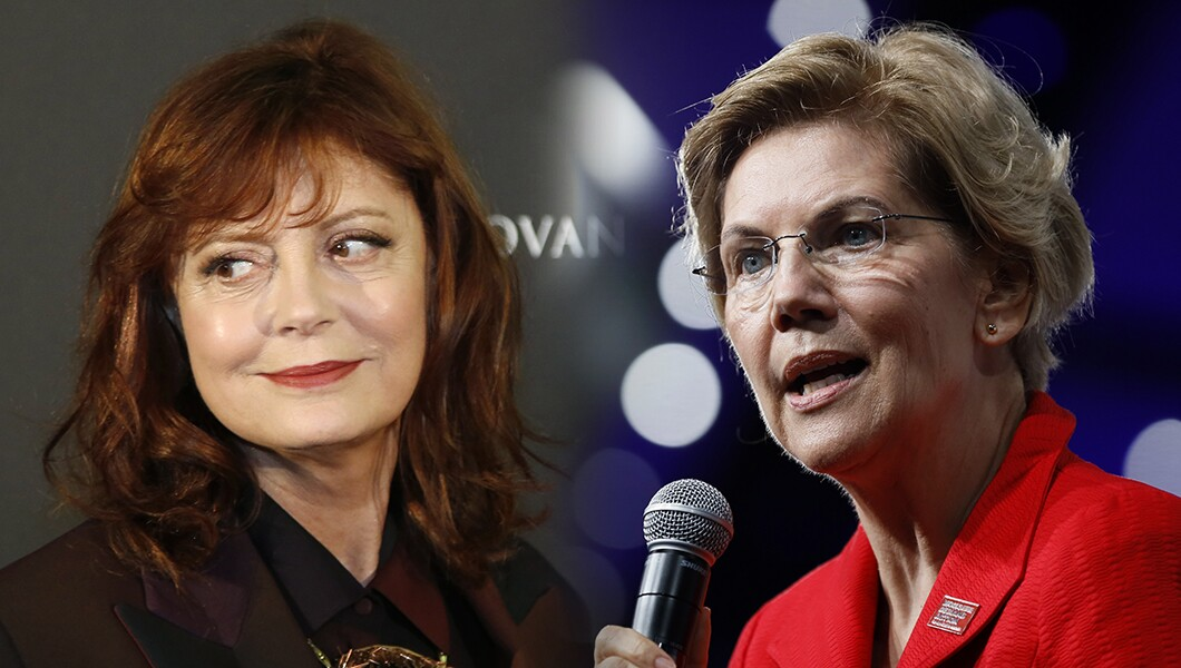 Susan Sarandon and Elizabeth Warren