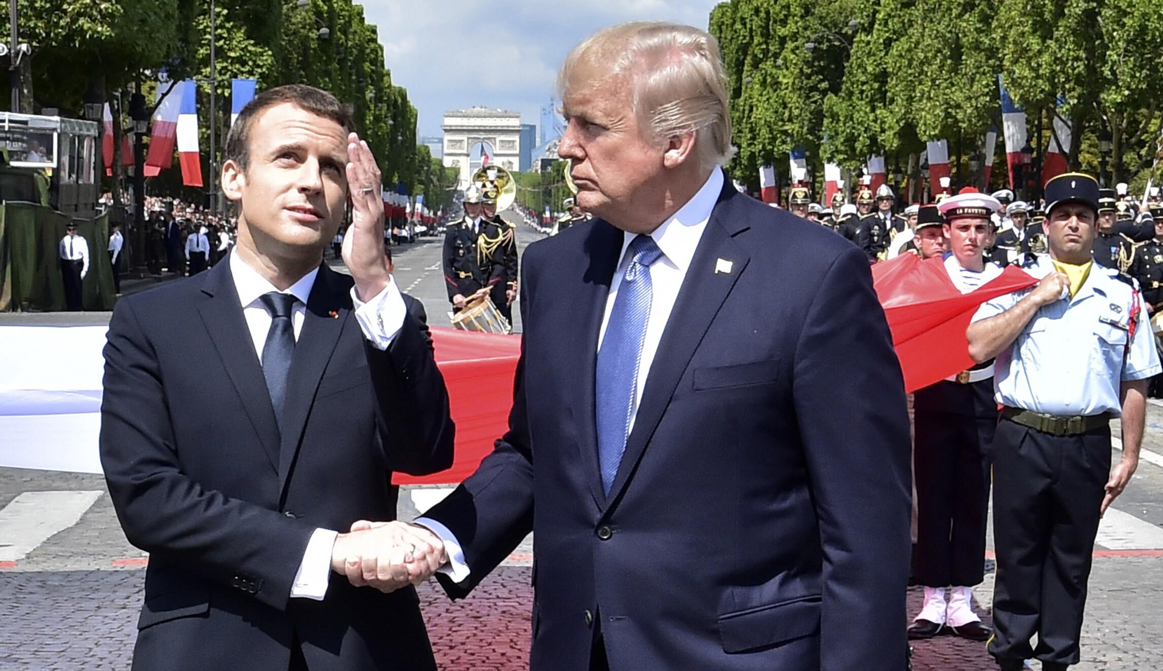 Trump French President Emmanuel Macron Loves Holding My Hand