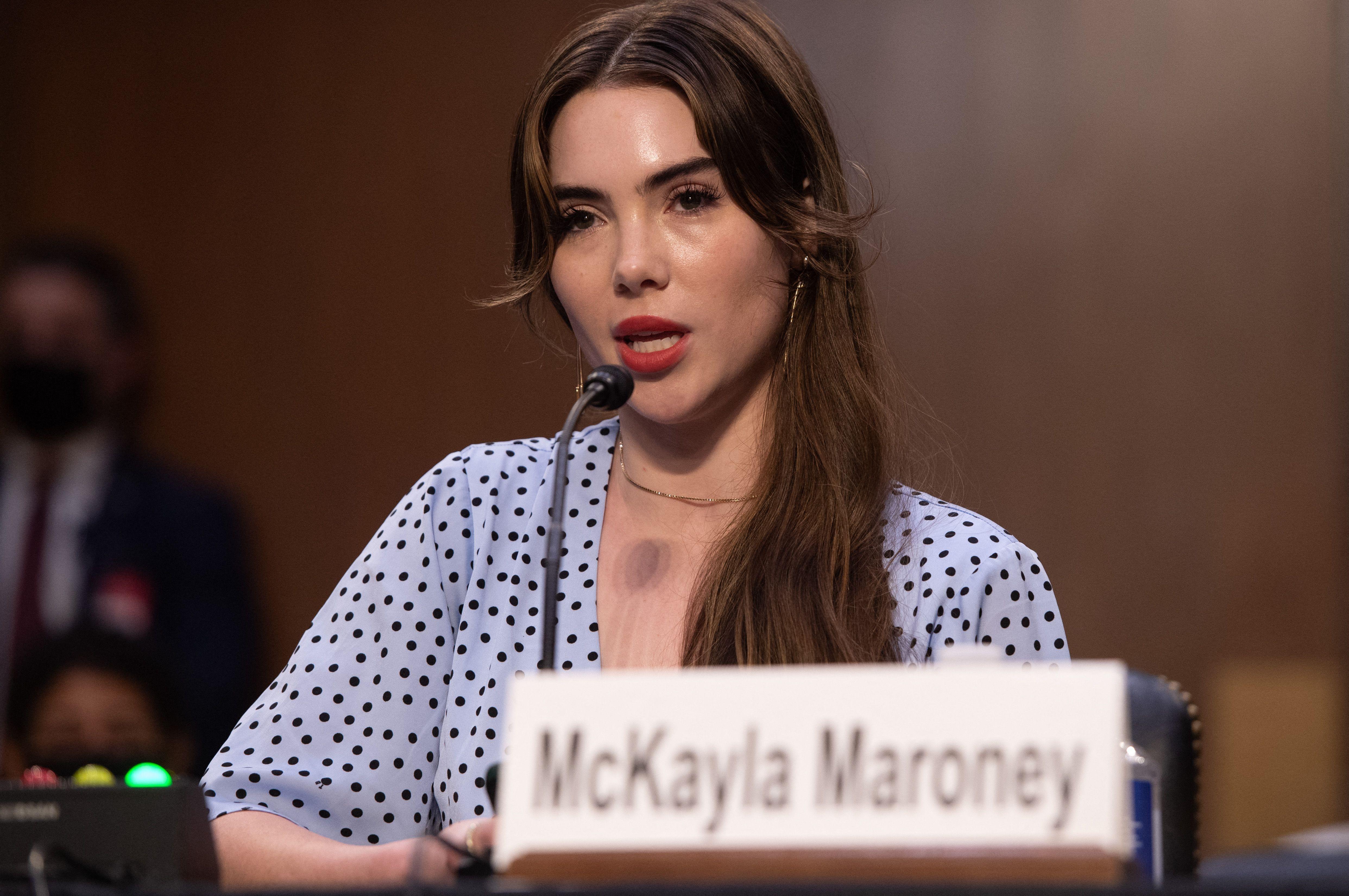McKayla Maroney testifies during a Senate Judiciary hearing