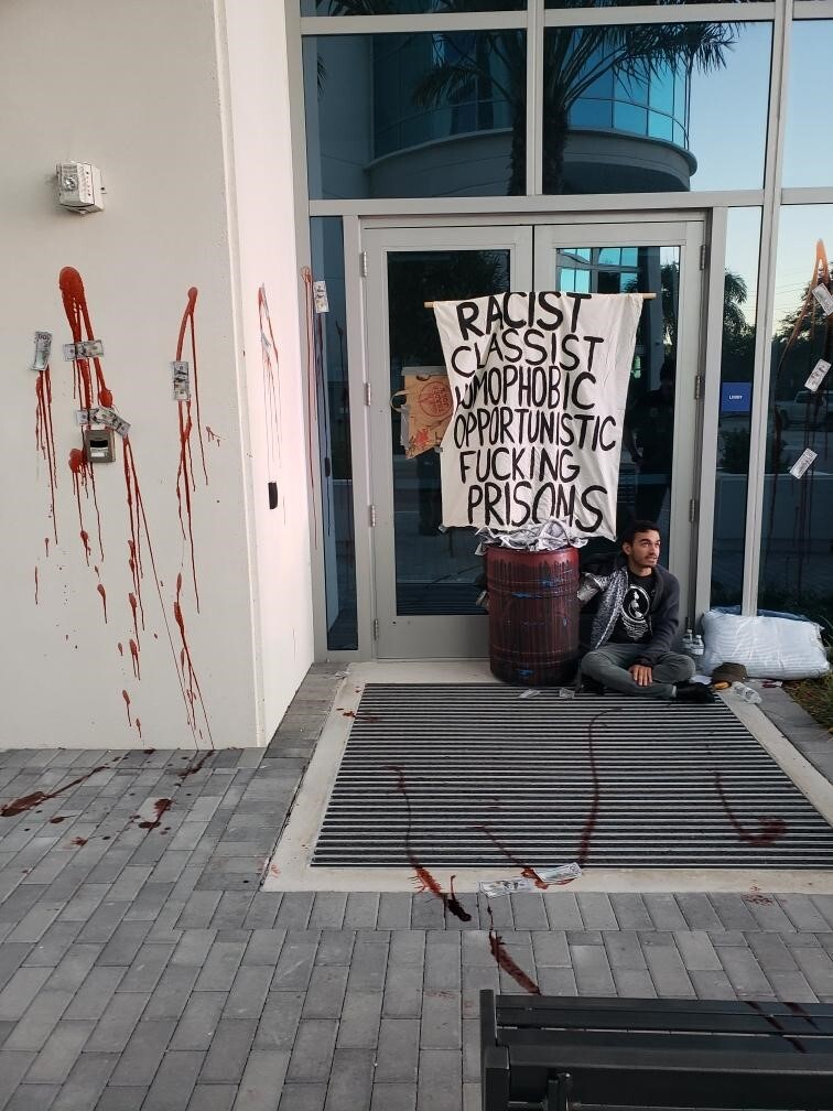 Florida headquarters of private immigrant detention center company vandalized by activists