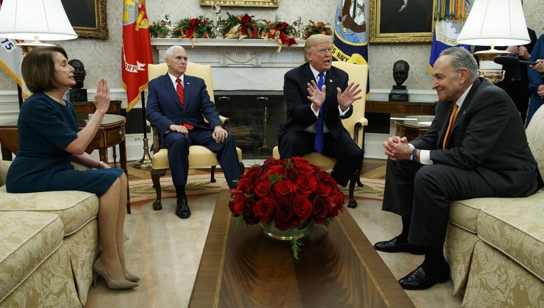 Donald Trump, Nancy Pelosi, Chuck Schumer, Mike Pence-121618