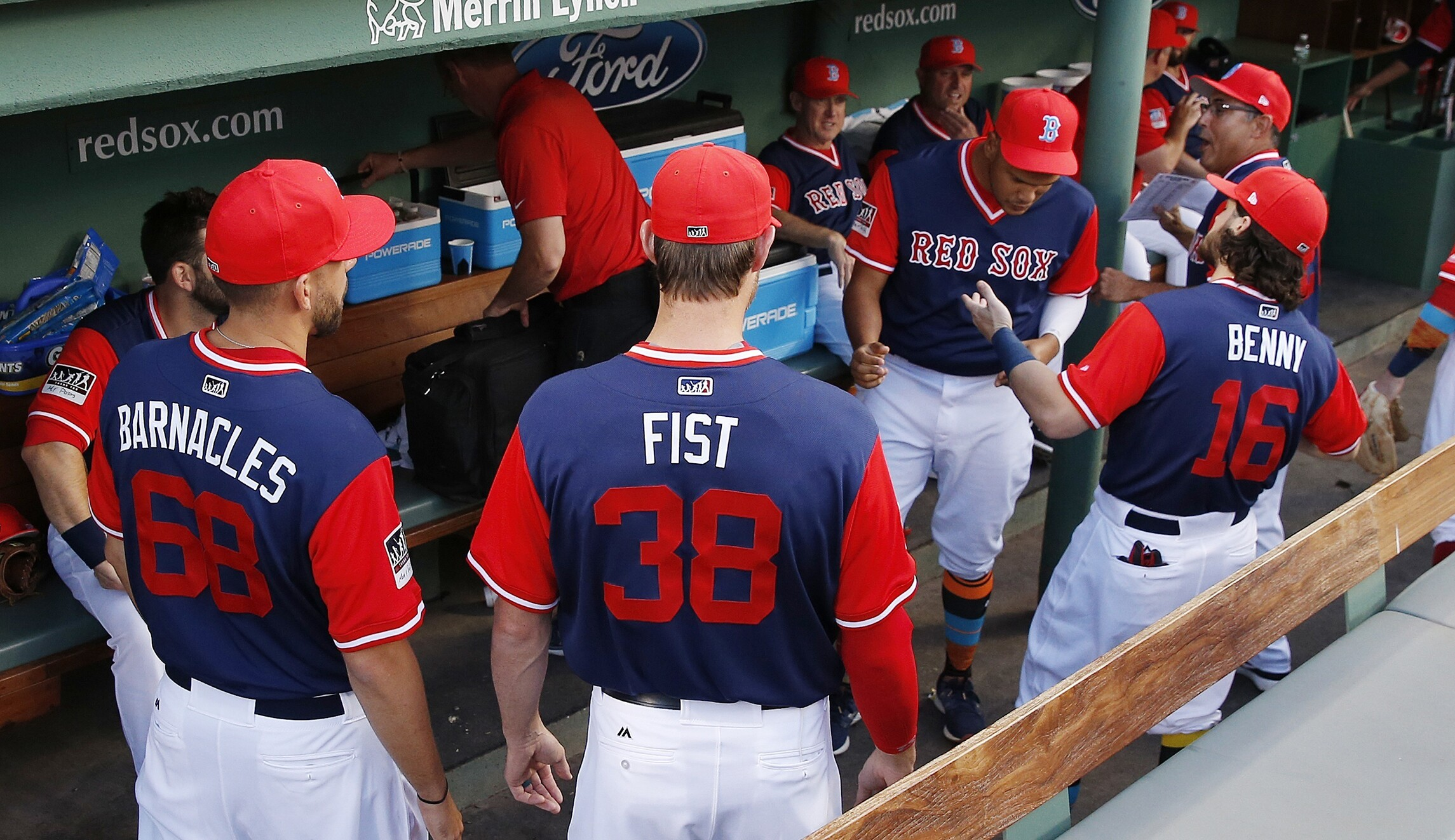 Boston Red Sox players wear uniforms with their nicknames on the back to  celebrate Players Weekend 5adda8438ff