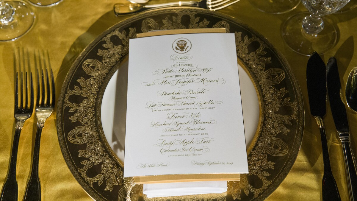 Here's what's on the menu at the Trumps' state dinner with Australia