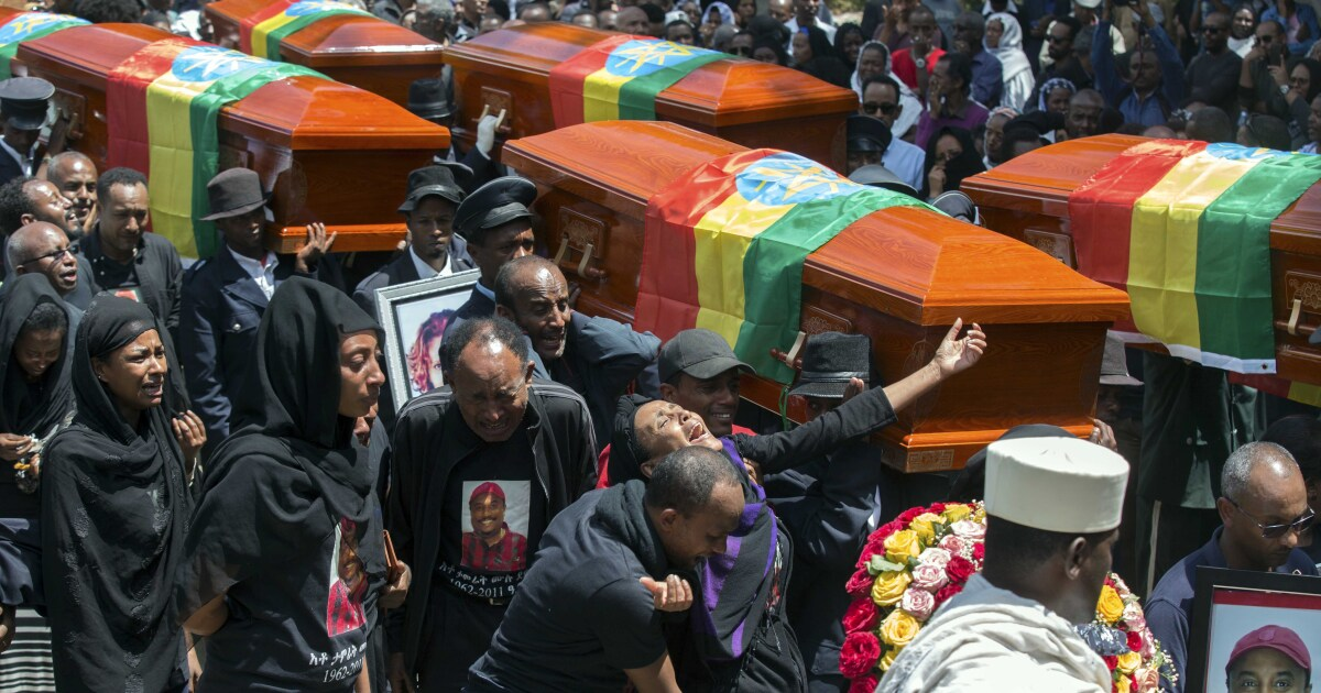 Relatives of victims of Ethiopian Airlines crash forced to mourn over empty coffins