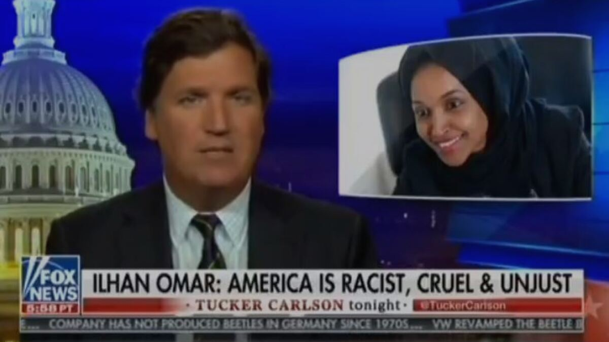 'It's all a hustle': Tucker Carlson responds to Ilhan Omar's calls to boycott his show