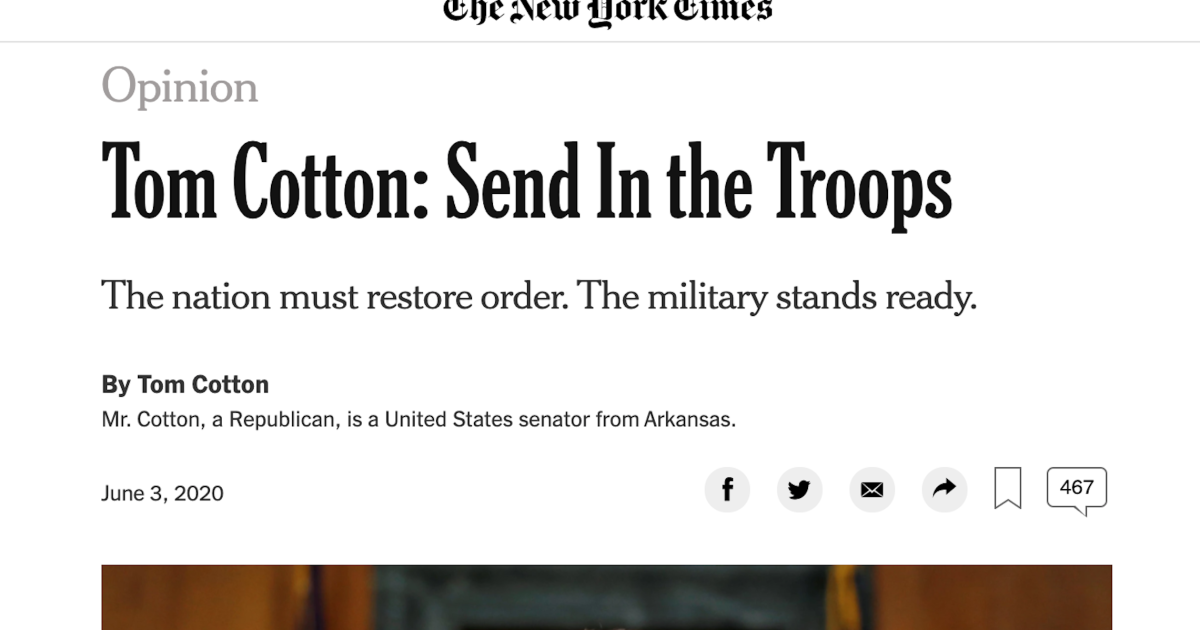 The New York Times was right to publish Tom Cotton's op-ed