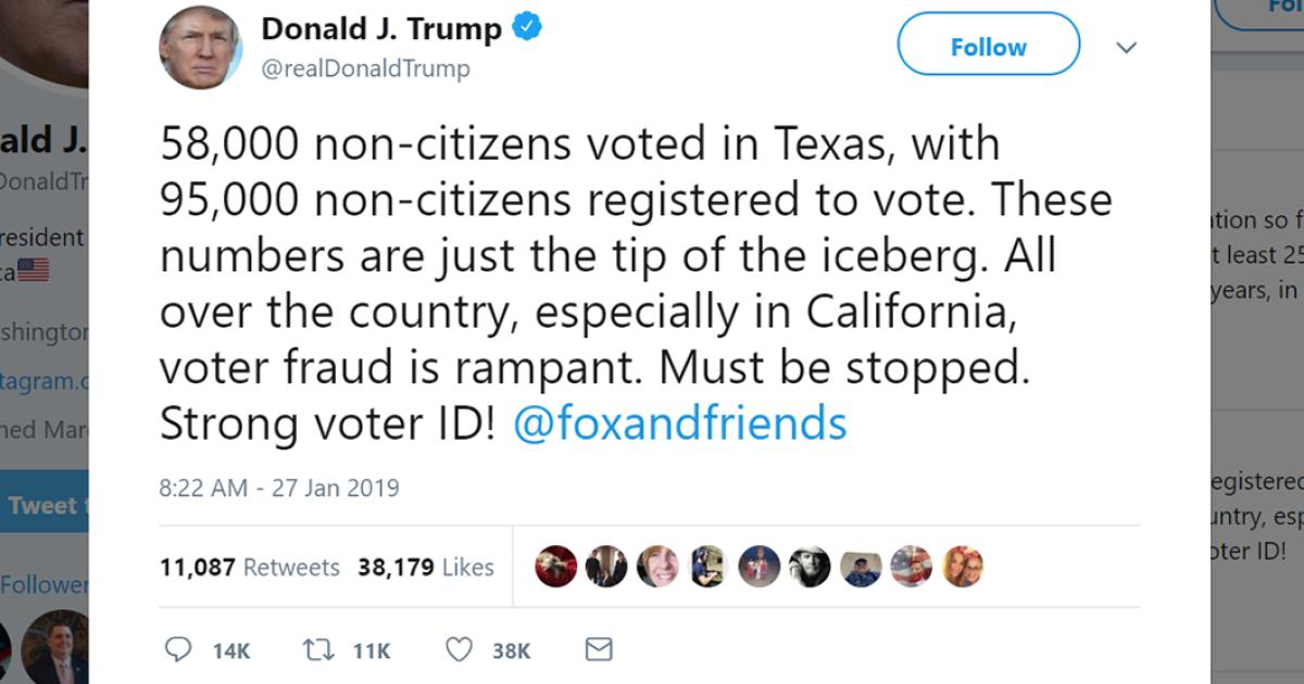 Trump shares misleading statistics on voter fraud in Texas