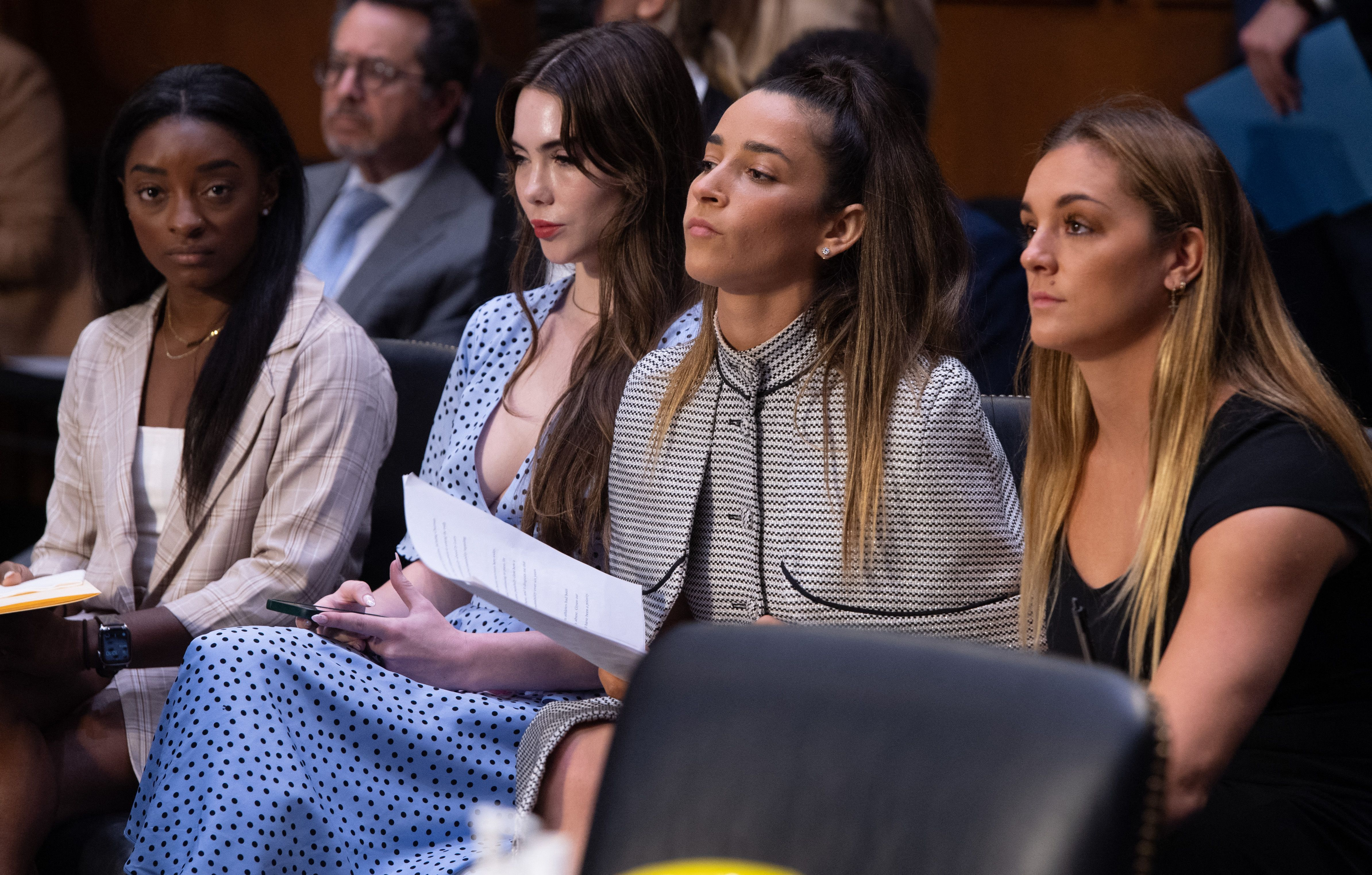 US Olympic gymnasts arrive to testify during a Senate Judiciary hearing