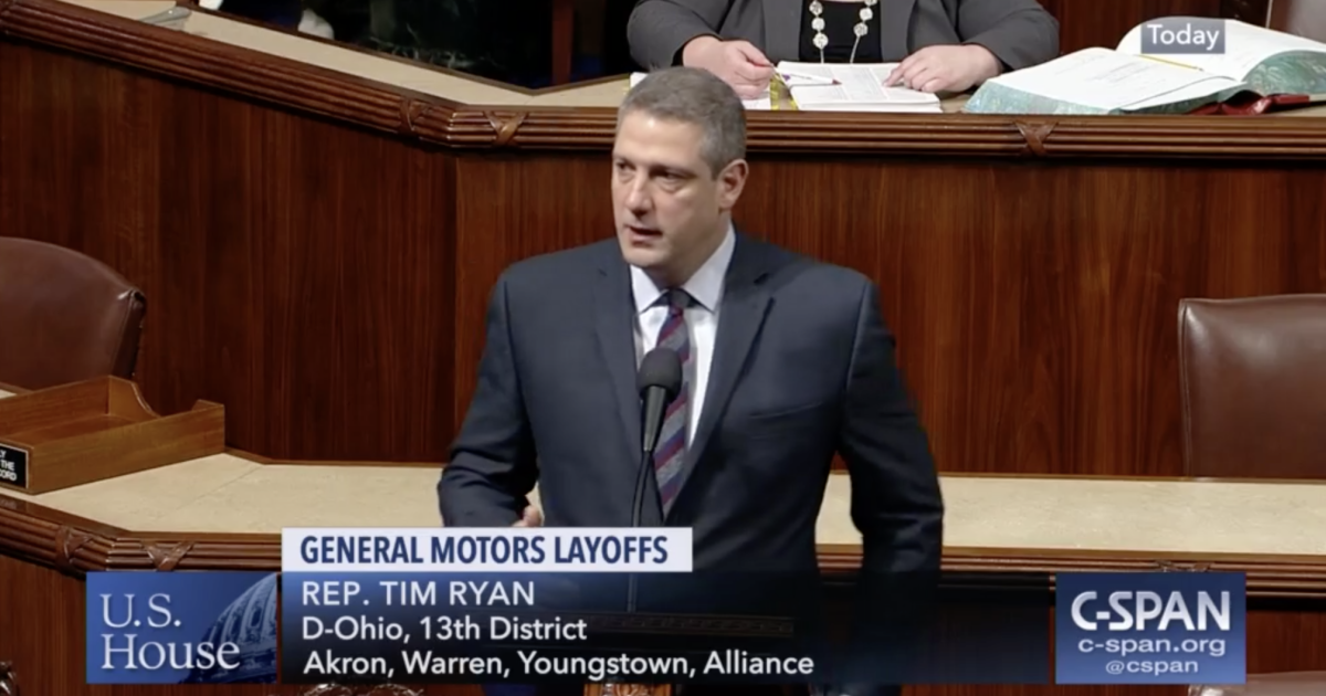 Tim Ryan boils over in floor speech after GM layoffs, calls for