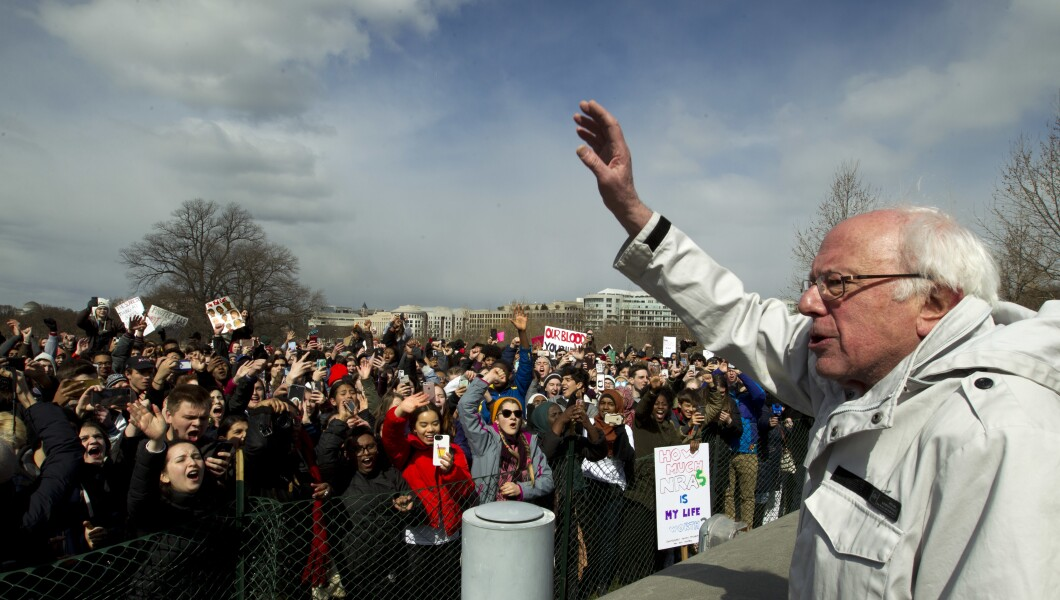 Sen. Bernie Sanders of Vermont speaks to people at a gun control rally.