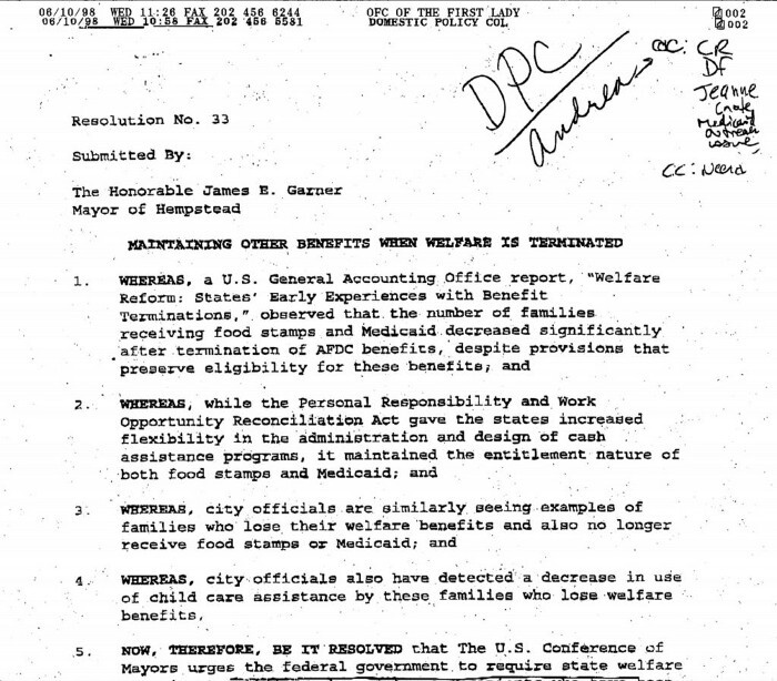 Clinton White House archive document