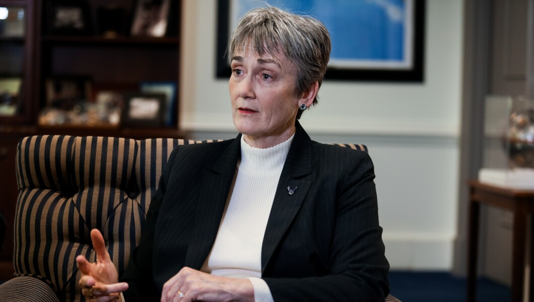 Air Force Secretary Heather Wilson speaks during an interview.