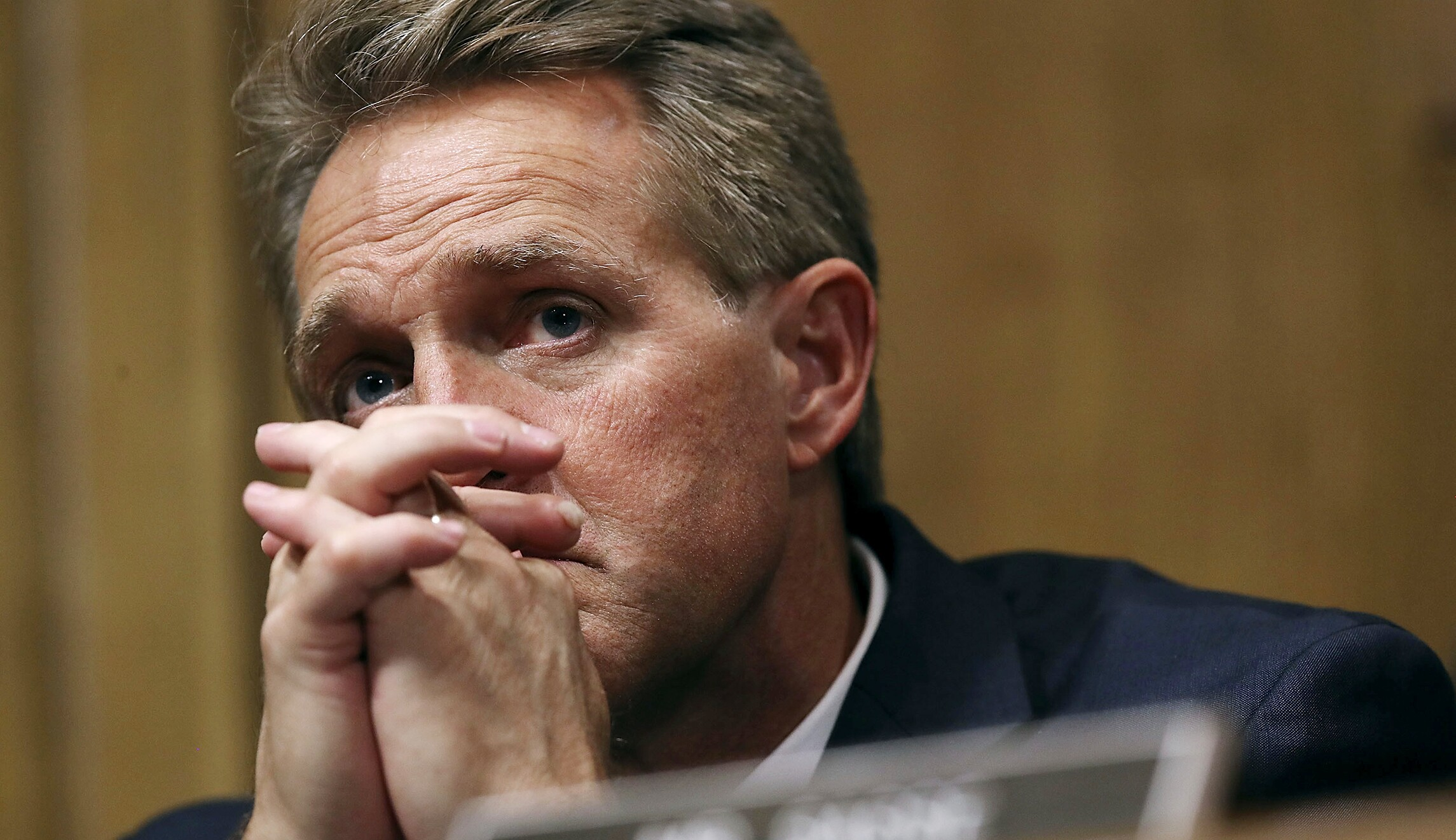 Sen. Jeff flake, R-Ariz., appears at a hearing in Washington, D.C.