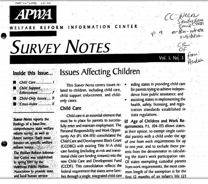 Clinton White House archive, welfare reform