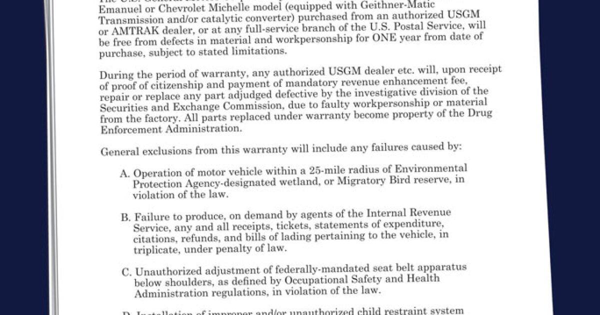 A Special Warranty from General Motors