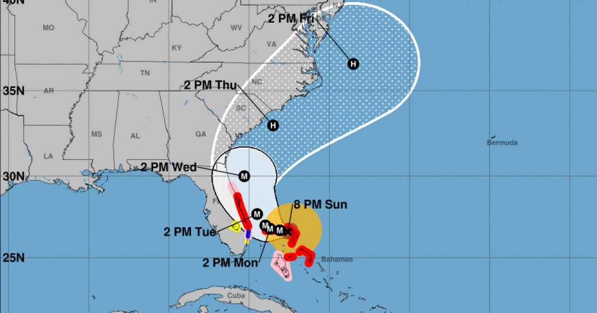 Show Me A Map Of Florida And The Bahamas.Hurricane Dorian Projected To Get Dangerously Close To