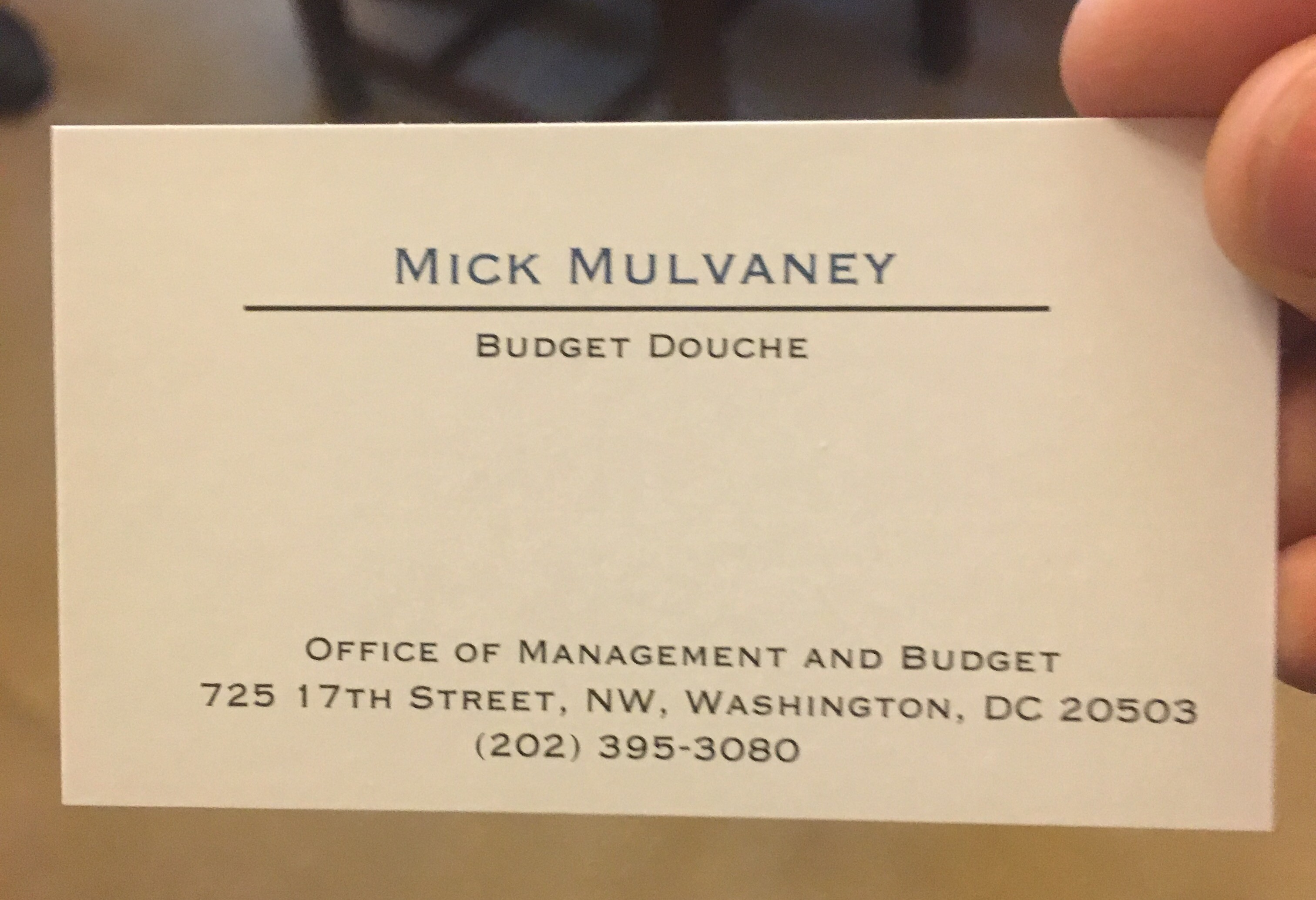 Kind protesters provided mick mulvaney with budget douche business you know you hit the big time when these guys started trolling me with fake business cards mulvaney told the washington examiner during a recent colourmoves