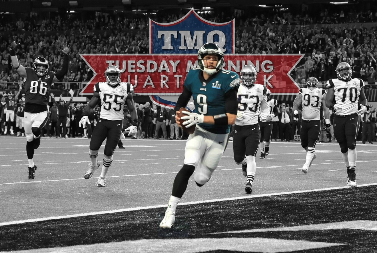 08e4be77c67 Eagles QB Nick Foles scores on one of the greatest TDs in Super Bowl  history.