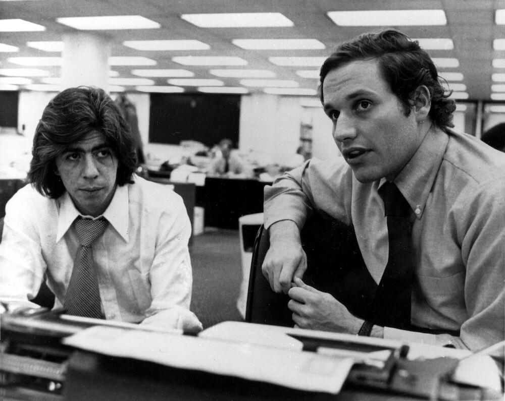 Carl Bernstein, left, and Robert Woodward, who pressed the Watergate investigation, in Washington, D.C., May 7, 1973.