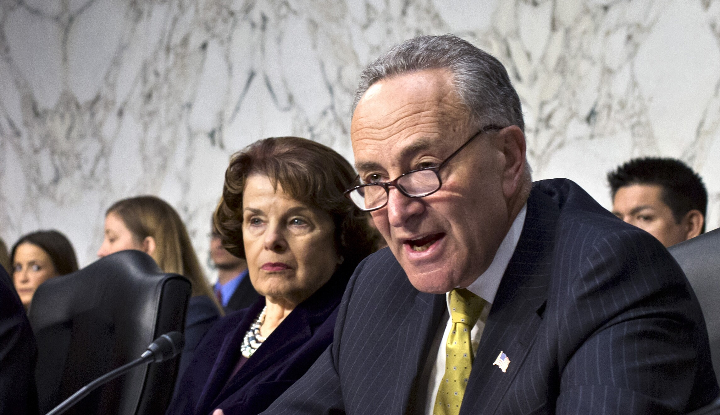 Senate Judiciary Committee members Chuck Schumer, D-N.Y., and Dianne Feinstein, D-Calif., are shown.
