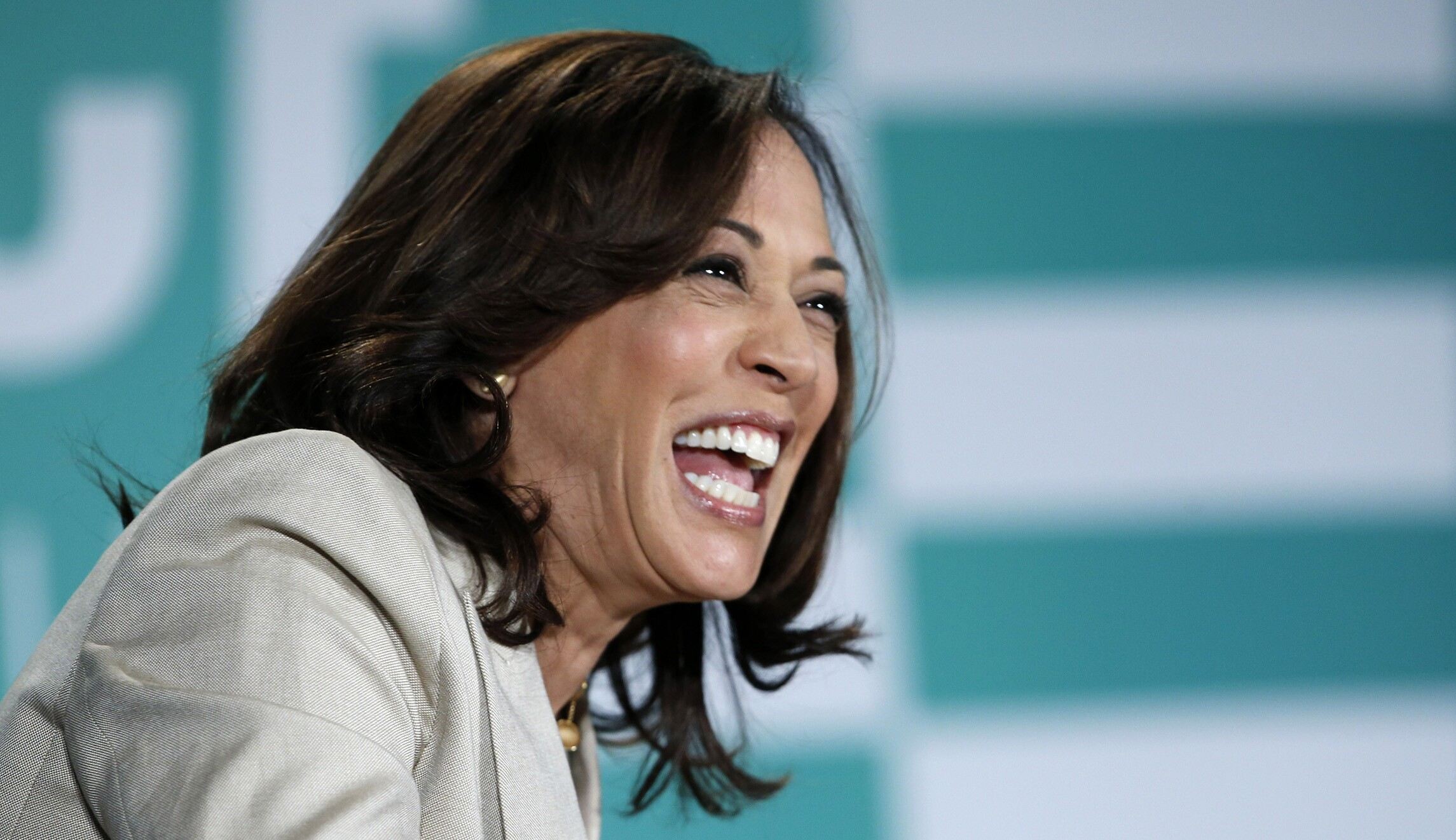 Democratic presidential candidate Sen. Kamala Harris, D-California, is seen.