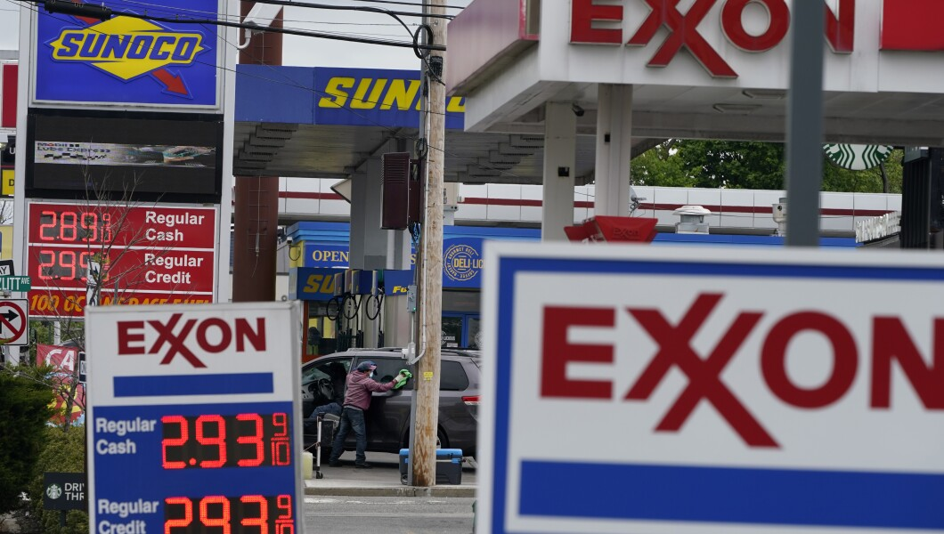 Gas stations display the price of gasoline in New Jersey on Monday.