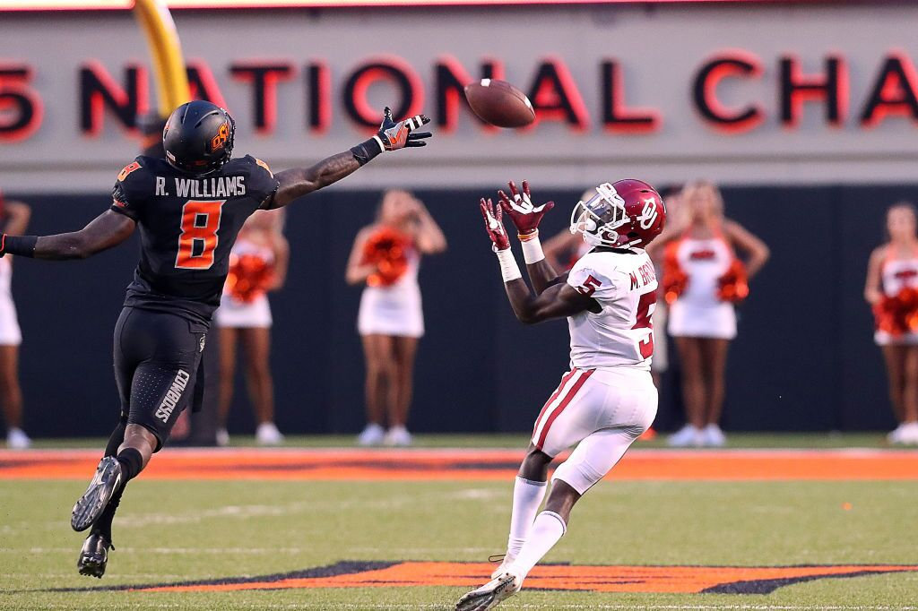 bf79ada08 Oklahoma Sooners WR Marquise Brown (5) hauls in a long pass in the fourth  quarter during a college football game between the Oklahoma Sooners and the  ...