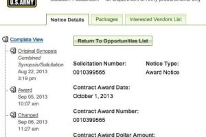 Despite Gov't Shutdown, Army Awards $2,163 Contract for