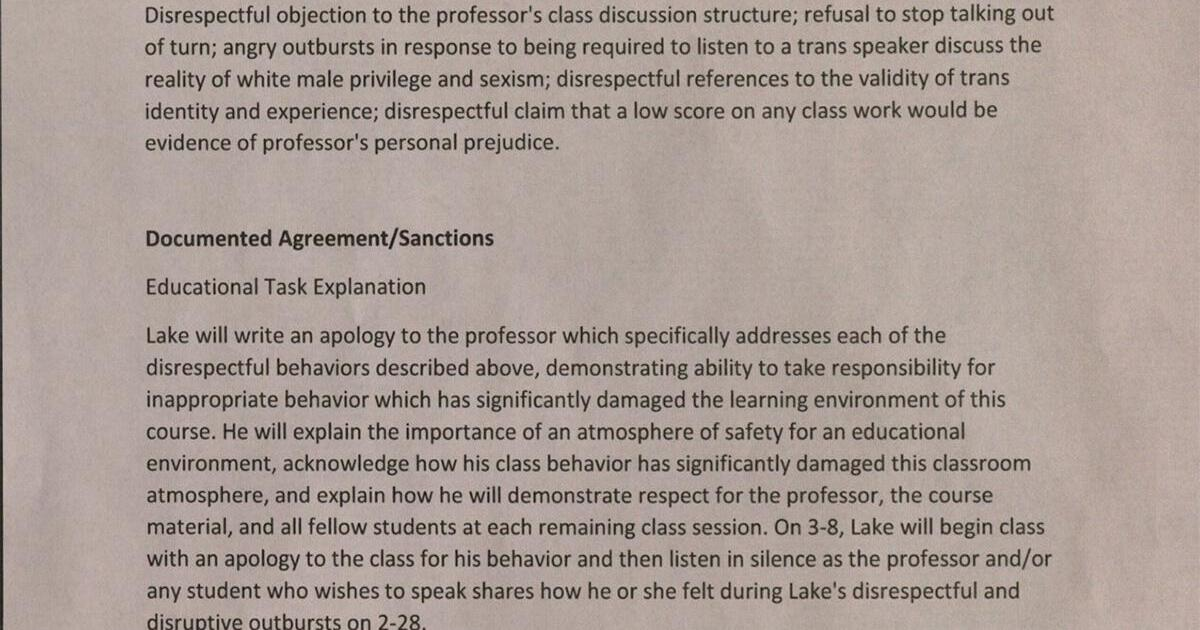 student kicked out of class for stating their are only 2 genders