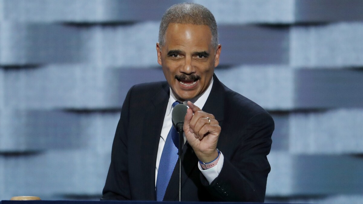 'Borders mean something': Eric Holder tells Democrats to propose 'realistic' immigration policies