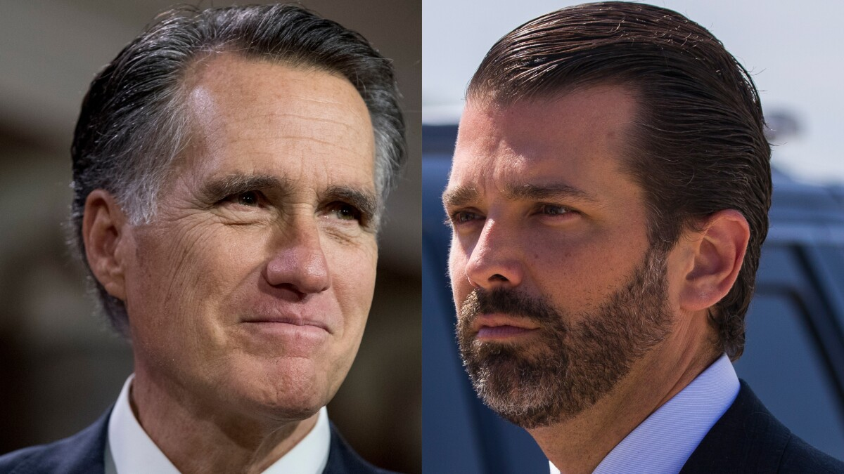 'Only says things that will ingratiate him': Donald Trump Jr. slams 'Pierre Delecto' Mitt Romney