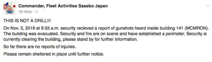 Report: Shots fired at US Naval base in Japan