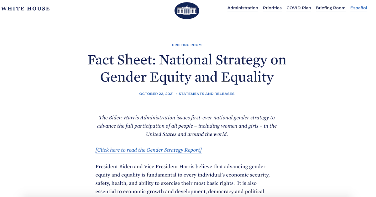 Biden released a 'National Gender Strategy,' and it is every bit as ridiculous as it sounds