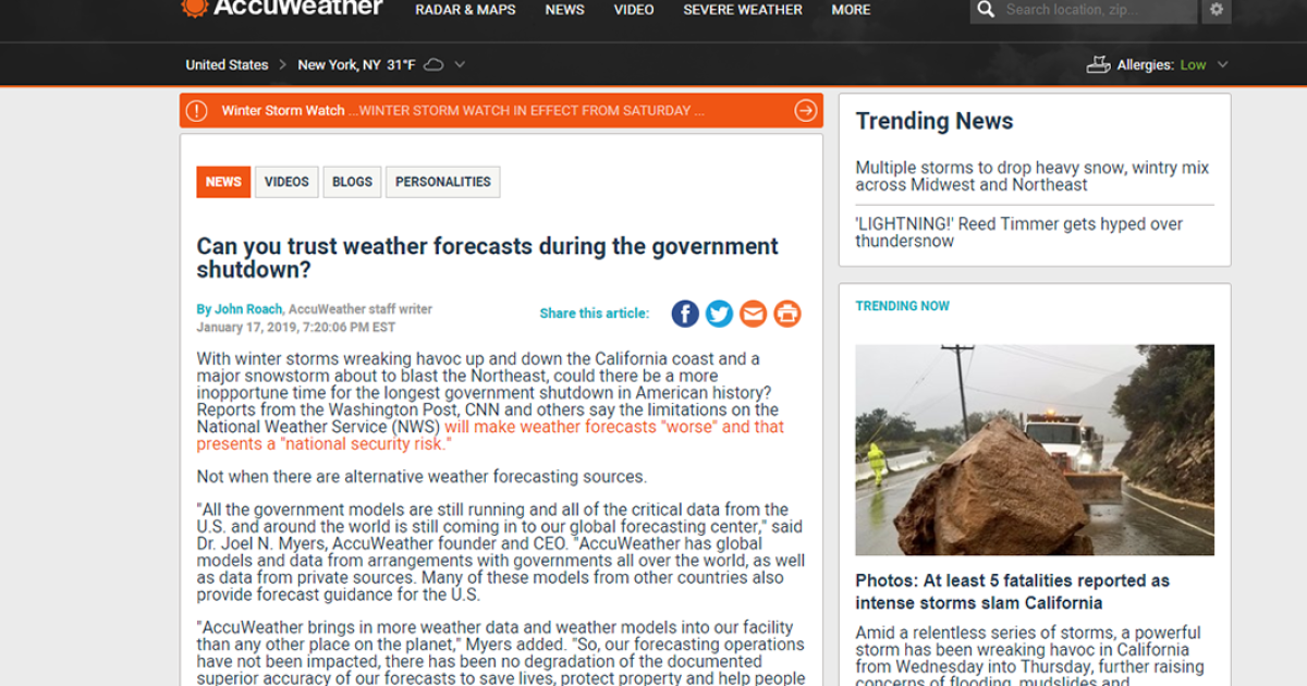 AccuWeather apologizes to National Weather Service for story on