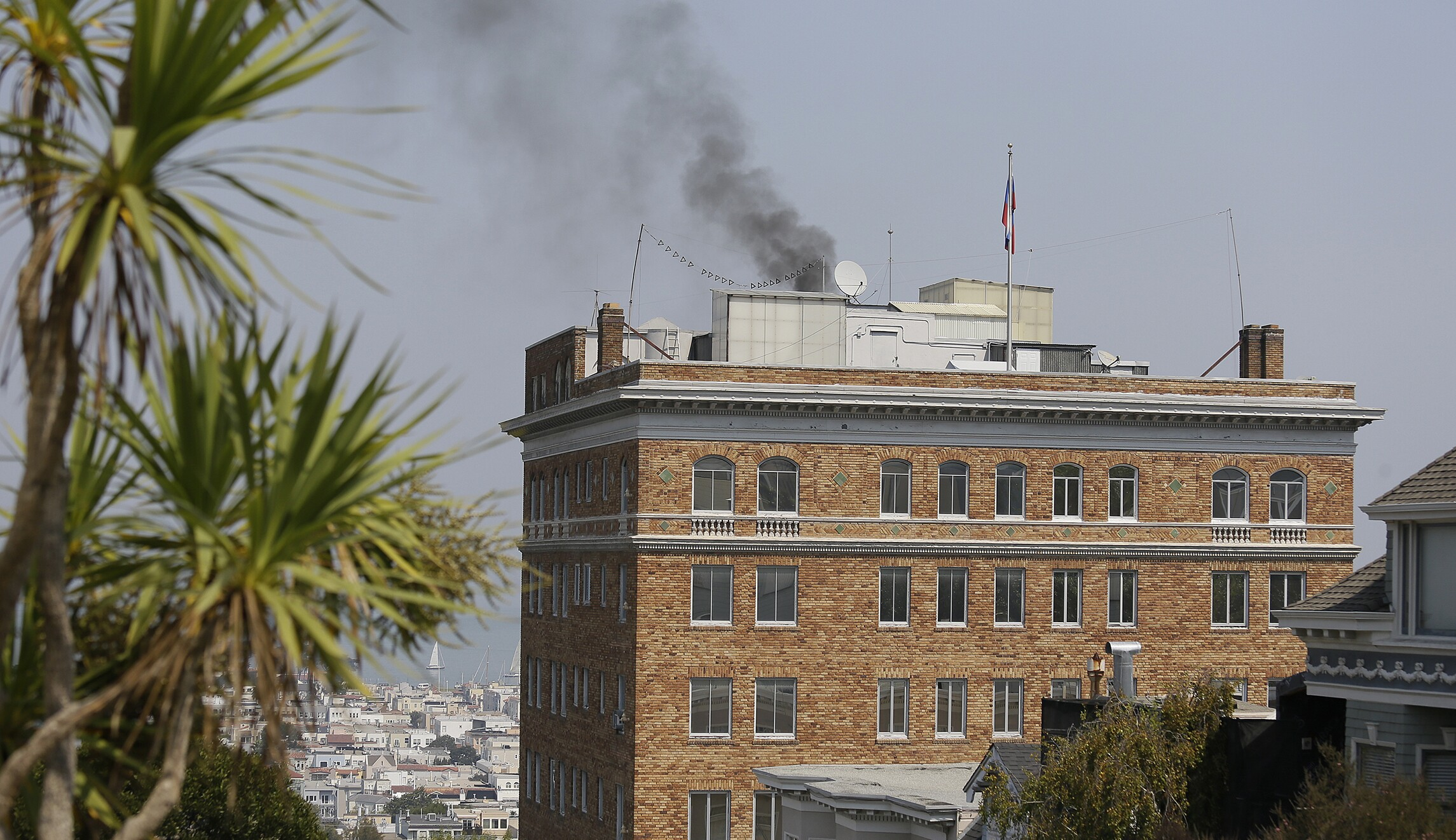 Smoke billows from Russian consulate in San Francisco on the
