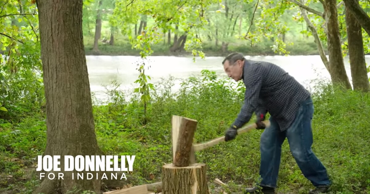 Is That Pre Cut Wood That Joe Donnelly Is Chopping In His Latest Ad