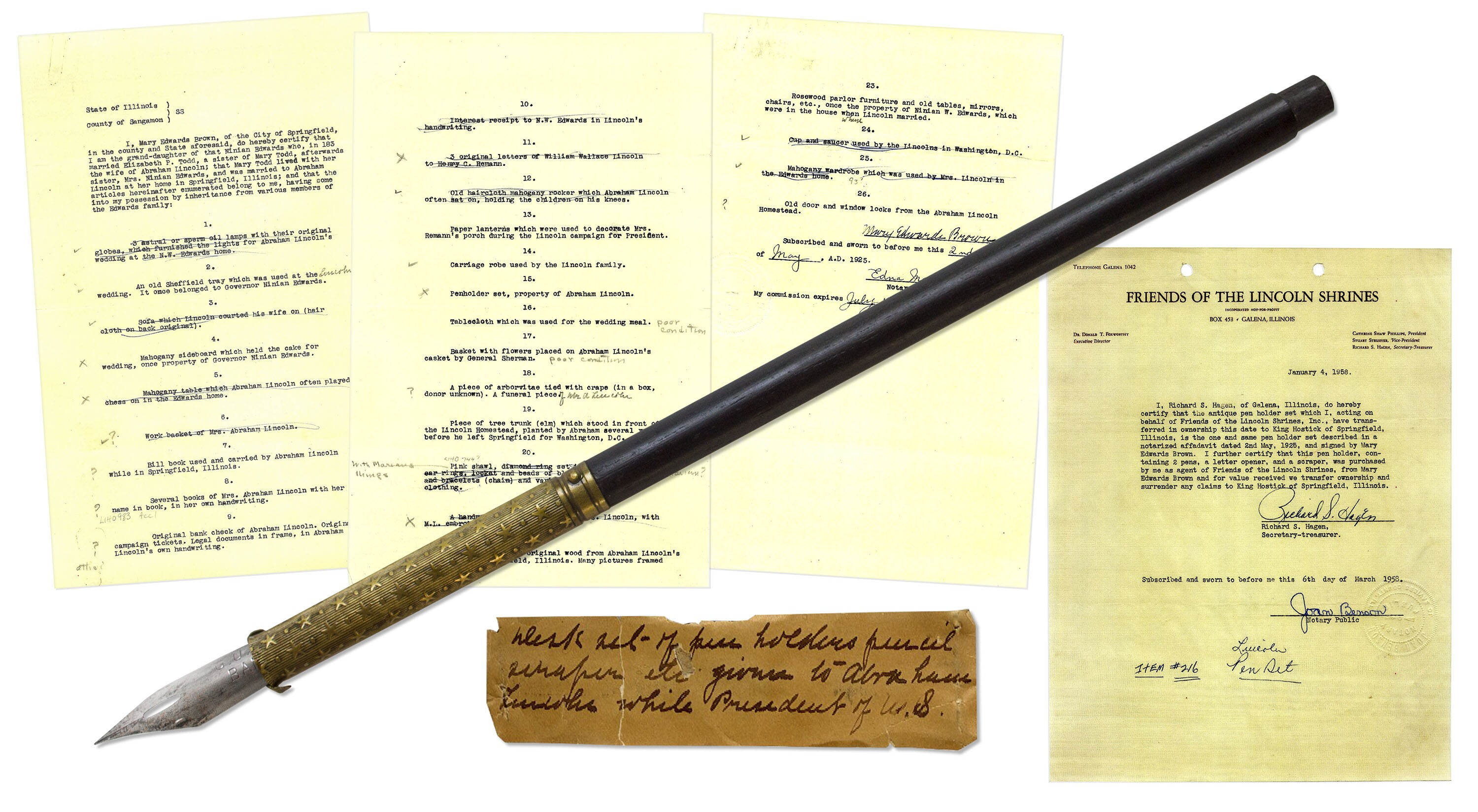 $41,250 for Abraham Lincoln\'s fountain pen at auction