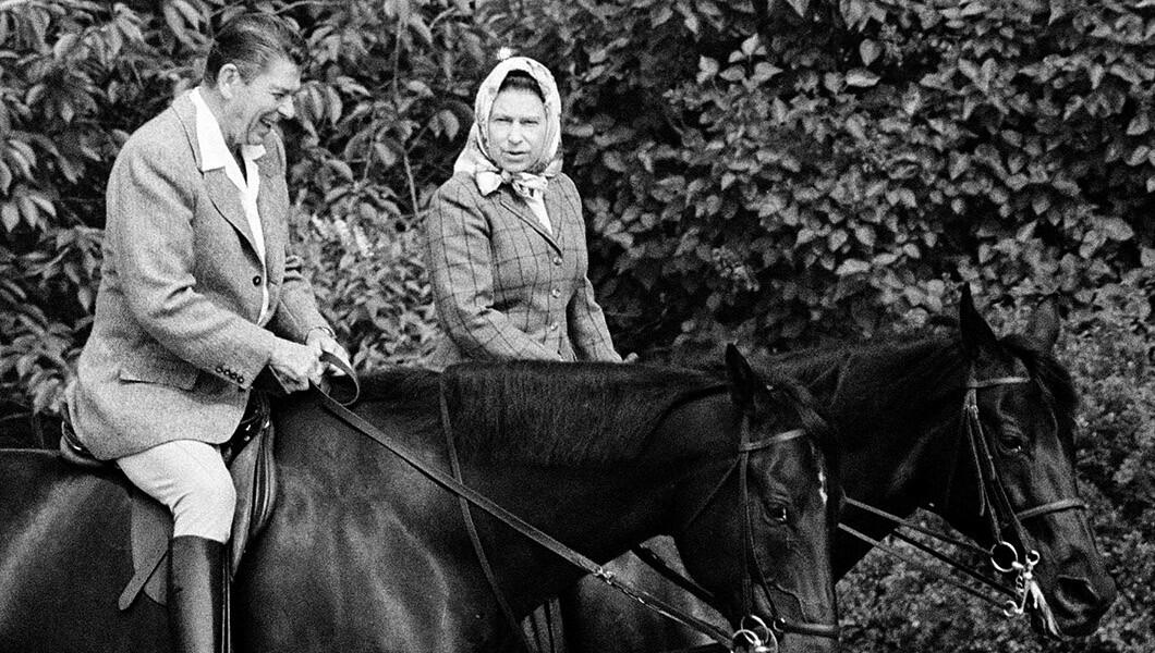 Queen Elizabeth II and Ronald Reagan