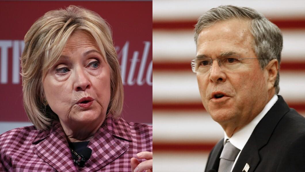 Hillary Clinton and Jeb Bush are pictured.